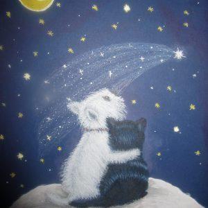 Cat Dog Moon Gazing 8 x 10