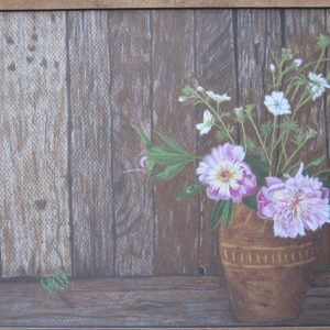 Old fence with flowers 9×12